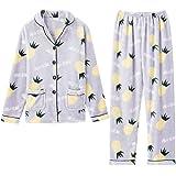 GOSO Pijama para niñas 8 a 14 años,Pijama Polar para niñas Botones para Adolescentes,niñas,Pijamas de Manga Larga y Pantalone