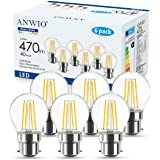 ANWIO 4.5W Ampoule Filament LED Bayonnate B22 G45, 470 lumens Equivalente à Ampoule Halogène Vintage 40W, 2700K Blanc Chaud,