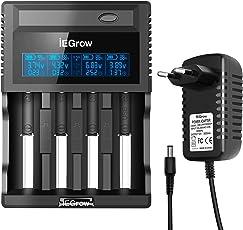 Akku Ladegerät, iEGrow Batterie Ladestation LCD Anzeigen für Li-ion/NI-MH/NI-CD/AA/ AAA/AAAA/ C Batterie 26650, 18650, 18500, 18350, 17670, 17500, 16340, 14500, 10440 3.7V Akku 4 Schlitze