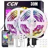 30M Ruban LED Bluetooth, CGN Bande Lumineuse LED Intelligent RGB 5050 Kit de Guirlande Lumières Décorative Multicolore avec T