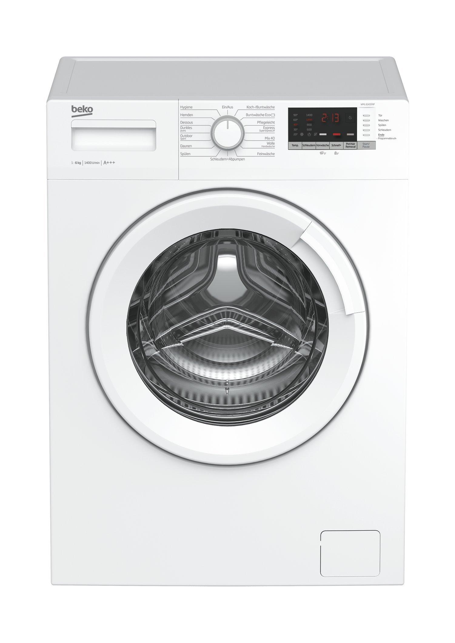 Beko WML 61433 NP Waschmaschine Frontlader, 6kg Füllmenge, Mengenautomatik, Startzeitvorwahl