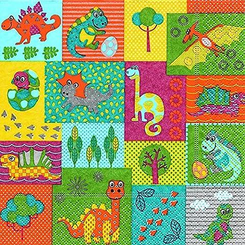 40Almuerzo Servilletas Dino Mundo (Dino World) 1/4, plegado, tamaño 3capas abierto: 33x 33