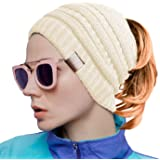 Rich Cotton Donna Ponytail Beanie Messy Bun Style Hat Elastico Cable Knit Wool Slouchy Skull Winter Barretto Cappello Inverna