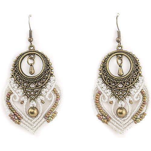 Orecchini pendenti fatti a mano in Macramé - Bianco perla, bronzo, cachi - Gioiello artiginale, confezione idea regalo donna