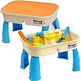 Able à Sable et Eau avec Couvercle pour Enfant - Comprend 8 Jouets de Plage et de l'espace pour Le Sable et l'eau - pour des Heures de Plaisir, bac Sable, Sand Eau Table