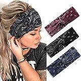 Zoestar Boho Criss Cross Bandeaux Noir Yoga Head Wraps Vintage Imprimé Cheveux Écharpe Élégant Bandeaux Élastiques pour Femme