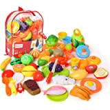 BeebeeRun Play Food,Cutting Fruit and Vegetables,Toddler Toys Kitchen Pretend Toys for Kids 3 Year Olds Up