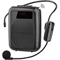 JCWY Amplificatore Vocale Senza Fili UHF, Sistema PA Ricaricabile Portatile 12W (1500mAh) con Microfono Cuffia Wireless…
