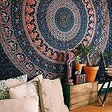 Twin Hippie Tapisserie, Hippie-Mandala Tapisserie Wandbehang Ethnische Dekorative Bohemian Wandteppiche, Indian Decor Wohnheim, Psychedelic, 137,2x 213,4cm (Twin), baumwolle, weiß, Twin