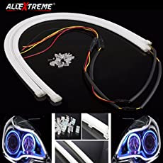 "AllExtreme 2PCS 60cm (24"") Car Headlight LED Tube Strip, Flexible DRL Daytime Running Silica Gel Strip Light, DC12V Soft Tube Lamp for Universal for Motorcycle and Cars (White)"
