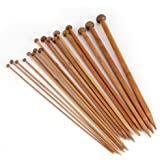 36Pcs Aiguille a Tricoter Bambou, 25CM Knitting Needles, Aiguilles Tricotage Débutants Professionnels, 18 Tailles de 2.0mm à