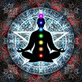 #5: Pitaara Box In Meditation With Chakras - LARGE Size 32.0 inch x 32.0 inch - UNFRAMED SELF-ADHESIVE PEEL & STICK GLOSSY LAMINATED PVC VINYL WALL STICKERS & WALL DECALS : Wall Paintings : DIGITAL PRINT Wall Posters Artwork like Hand Paintings : Decorative Home Interior Wall Décor Photo Gifts for Bedroom, Living Room, Drawing, Dining Room, Kitchen, Office, Reception, Bathroom, Outdoor, Gallery, Hotels, Restaurants, & Balcony : Religious, Traditional : Digital Art