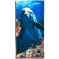 ESPiCO Strandlaken Badetuch Delfin Beach Dolphin Meer Strandtuch Wasser Koralle Fisch Muscheln 75 cm x 150 cm