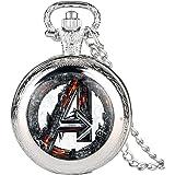 Dgsdrhs - Orologio da taschino da uomo, motivo Marvel Comics Supermen, orologio da tasca per ragazzi, con collana e ciondolo