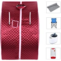 Flyelf Portable Sauna Thérapeutique Vapeur Spa Chaise Maison Relax 98 x 70 x 80 cm 1.8L (Rouge)