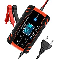 URAQT Chargeur de Batterie pour Auto 12V/24V 8A, Chargeur de Batterie Intelligent Portable avec Automatique Réparation…