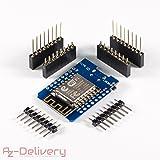 AZDelivery ⭐⭐⭐⭐⭐ D1 Mini NodeMcu Lua ESP8266 ESP-12E Internet Module WiFi Carte de développement pour Arduino, Compatible avec WeMos D1 Mini à 100%