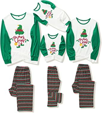 Family Matching Christmas Pajamas Set Xmas Pattern Printed and Tee Sleepwear for Adults Kids Infants