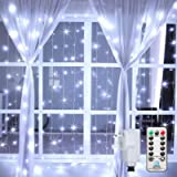 Ollny Curtain Lights Mains Powered, 3m x 3m 300 LED, Outdoor Gazebo Lights Cool White,Christmas Fairy Lights 8 Modes…