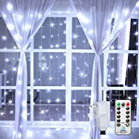 Ollny Curtain Lights Mains Powered, 3m x 3m 300 LED Curtain Fairy Lights Outdoor, Cool White Plug in Christmas Fairy…