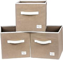 Uberlyfe Light Brown 3pc Kids Toy Storage Box (KSB-1679-CUB-LTBR3PC)