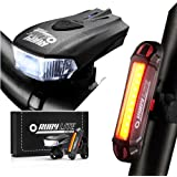 RUBY LITE Bike Light Set, USB Rechargeable LED -Runtime 45+hours - Powerful 400 Lumen Front Headlight & 100LM Taillight- Bicy