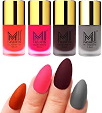 Mi Fashion Velvet Dull Matte Nail Polish, Orange, Neon Pink, Wine, Grey, 39.6ml (4 Pieces)