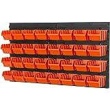 Etagère des 34 éléments bac à bec petits outils boîte orange combinaison murale