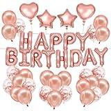HusDow 70pcs Rose Gold Birthday Party Decorations, Happy Birthday Banner 10pcs Confetti Balloon 40pcs Latex Balloon with…