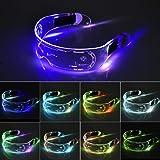 XIAMUSUMMER Halloween LED lichtgevende bril - Neon Bril - Cyberpunk LED Vizier Bril - Futuristische Elektronische Vizier Bril