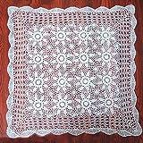 Yazi, Handgefertigte Häkeltischdecke, Spitzentischdecke mit Blumenmuster, weiße Tischdecke für Hochzeiten, quadratisch, 80 cm