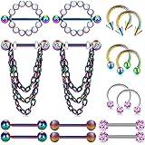 14G Piercing Capezzolo Acciaio Inossidabile Piercing Lingua Barbell Chain Dangle Piercing Lingua Piercing Septum Gioielli per