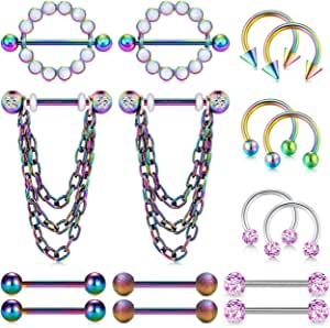 14G Piercing Capezzolo Acciaio Inossidabile Piercing Lingua Barbell Chain Dangle Piercing Lingua Piercing Septum Gioielli per il corpo Donna Uomo 14MM