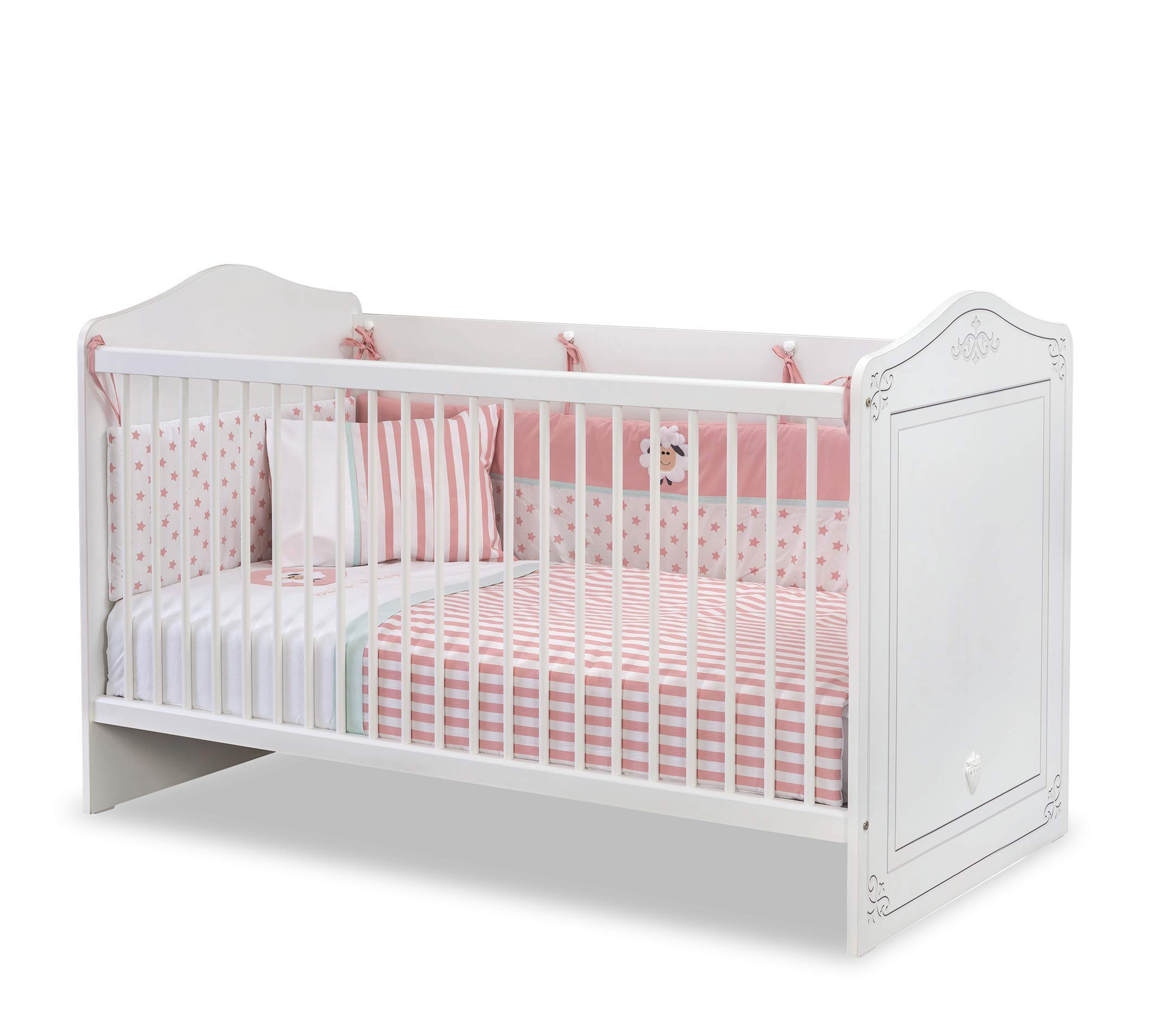 Dafnedesign.com - Cot early childhood bedroom for newborn or toddler - A baby cot with safety cage with poles - Includes a mattress - Width: 146 cm Height: 92 cm depth: 78 cm - [Series: Daphne-Classical] - (DF11) Dafnedesign 1 bed early childhood bedroom Baby bed Safety cage with poles 2