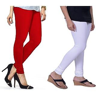 Lux Lyra Women's Pack Of 2 Churidar Leggings Red   White