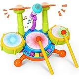 Kinder Trommel Set, Rabing Musikinstrumentenspielzeug mit 2 Trommelstöcken, Beats Flash Light und verstellbarem Mikrofon für