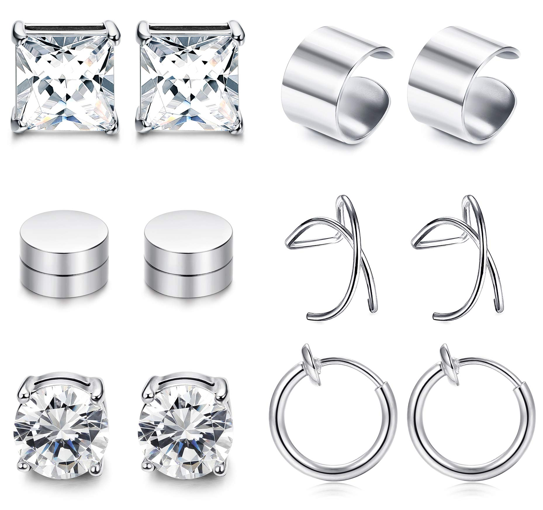 sailimue 6 Pairs Stainless Steel Magnetic Ear Cuff Earrings for Men Women Non Piercing Clip On Cartilage Stud Earrings…