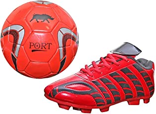 Port Unisex PU Combo Pack of Soccer Ball and Soccer Shoes(Ball Free)