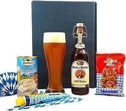 Bayern Geschenkset Oktoberfest | Bayrischer Geschenkkorb gefüllt mit Weizen Bier, Weizen Bierglas und bayerische Delikatessen | Bier Geschenke Box