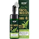 WOW Skin Science Green Tea Foaming Face Wash with Built-In Face Brush with Green Tea & Aloe Vera Extract, 150 mL