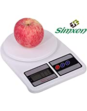 Simxen Electronic Digital 10 Kg Weight Scale Kitchen Weight Scale Machine Measure for Measuring Fruits,Spice,Food,Vegetable and More White