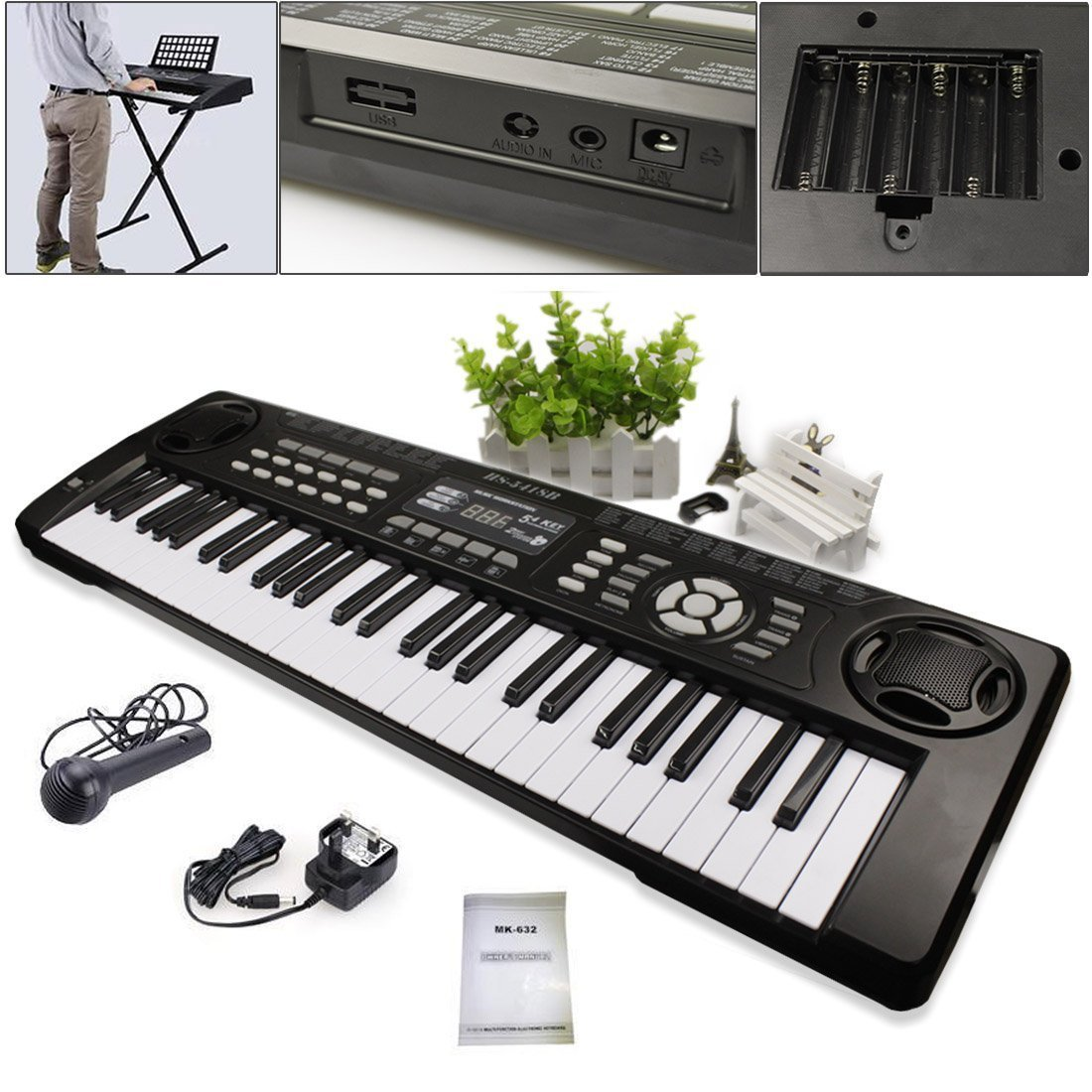 JJOnlineStore - 54 Keys Multi Functional Musical Instrument Piano Synthesizer Keyboard Microphone Ki
