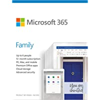Microsoft 365 Family | 12-Month Subscription, up to 6 People (Activation Key Card)