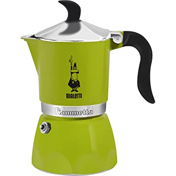 Bialetti Moka Fiammetta, Caffettiera Espresso, Alluminio,Verde, 3 Tazze