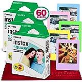FUJIFILM instax Square Instant Film (60 Exposures) for SQ6, SP-3, SQ20 + FiberTique Cleaning Cloth