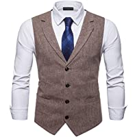 YCUEUST Uomo Tweed Single-Breasted Classici Senza Maniche Gilet Partito Cerimonia Formal Waistcoat