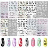 Kalolary 5 kleuren Letter Nail Art Stickers 10 vellen Letter Nail Stickers voor nagels Oud Engels Woorden Alfabet Nagelsticke