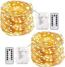 200 LED Lichterkette Batterie, ECOWHO 8 Modi IP65 Wasserdicht LED Kupferdraht Lichterkette, Sternen Lichterketten mit Fernbedienung & Timer, Weihnachtsbeleuchtung für Weihnachten,Garten,Party (2 Pack Warmweiß)