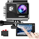 Campark 4K WiFi Action Camera Touch Screen, Web Cam,PC Camera 170° Wide Angle EIS Stabilization 30M Underwater 2 Batteries an