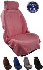 fixcape Autositzbezüge universal als Überwurf aus Baumwolle, Autositzbezug Schonbezug Sitzbezug für das Auto, Sitzbezüge Autositz, Werkstattschonbezug Vordersitze, Rosé